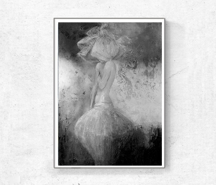 Printable woman painting, Instant download, Vintage Inspired, gray figure