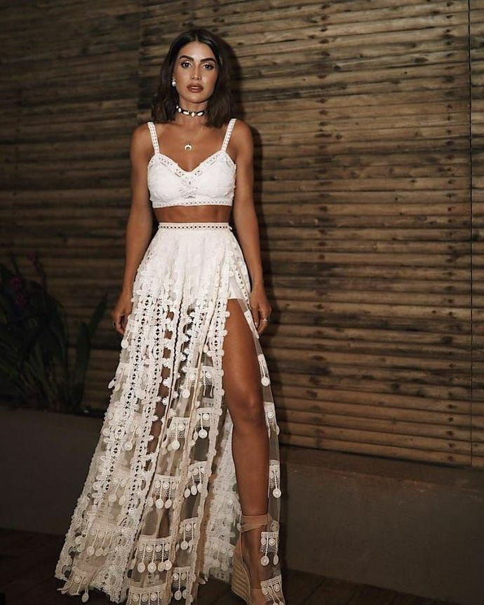Spaghetti Straps floor length white lace 2 pieces prom evening dress