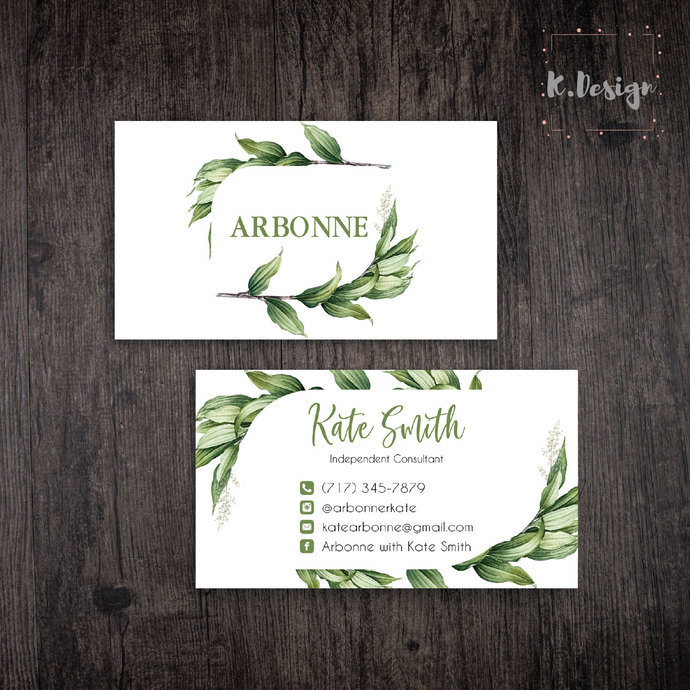 Arbonne Business Card, Arbonne Botanical business card, Arbonne AB33
