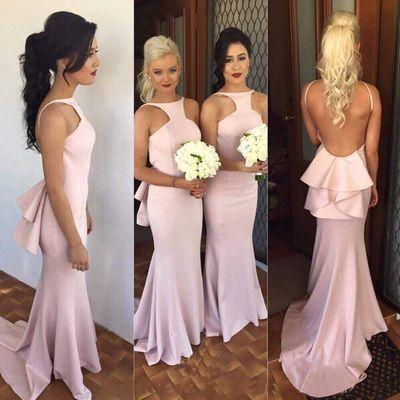 pink bridesmaid dresses long mermaid backless elegant sleeveless sexy wedding