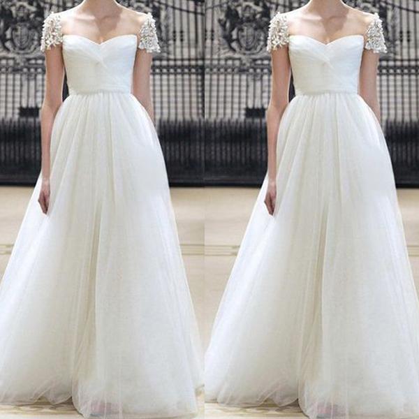 chiffon beach wedding dresses for bride beaded cap sleeve ivory cheap sexy
