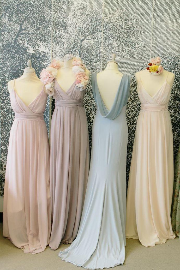 pink bridesmaid dresses long chiffon v neck cheap pregnant wedding party dresses