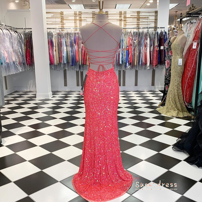 Glitter Coral Bodycon Evening Dress with Slit 8002338