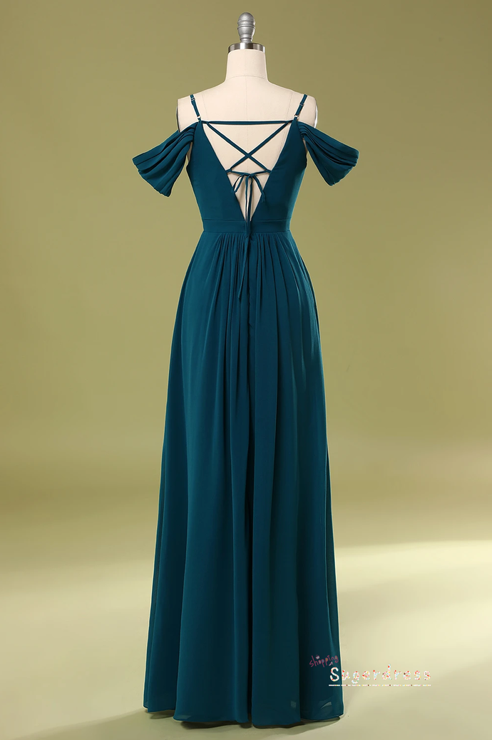 Pleated Open Shoulder Teal Prom Dress 8002361