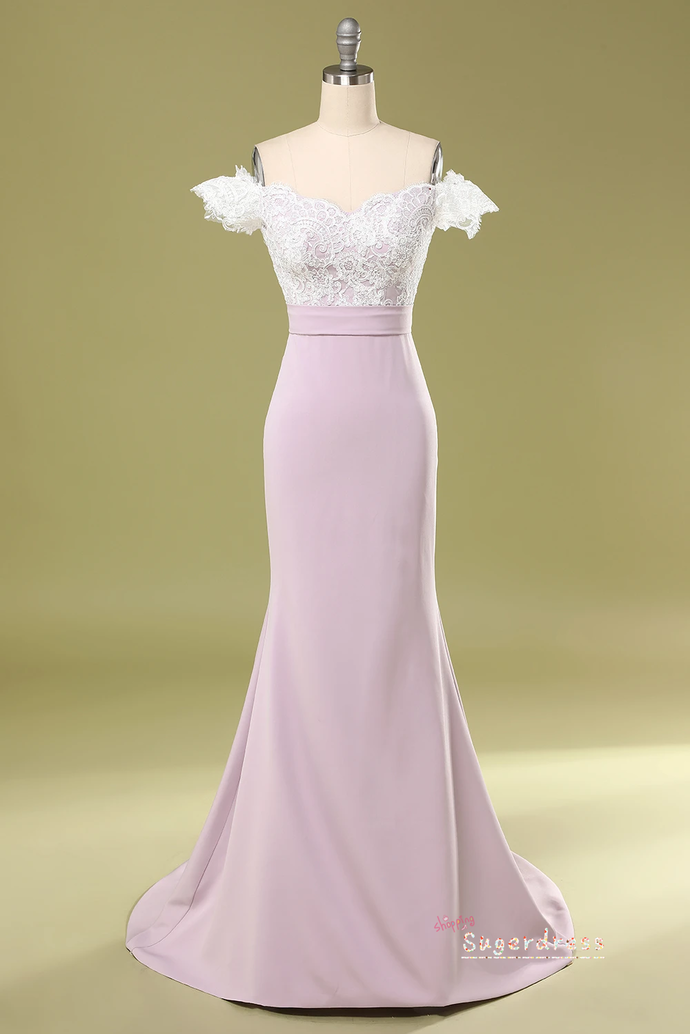 Off the Shoulder Mermaid Prom Dress with Lace Top 8002363