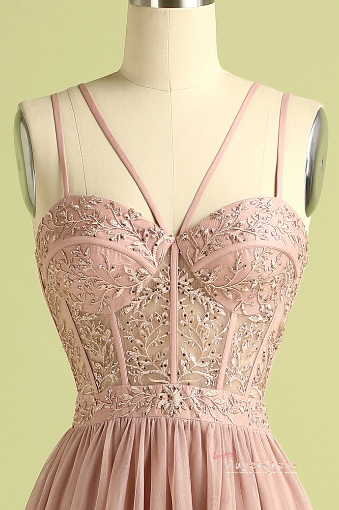 Strappy Embroidered Pink Prom Dress with Slit 8002365