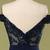 Sequined Off Shoulder Navy Blue Evening Dress 8002366