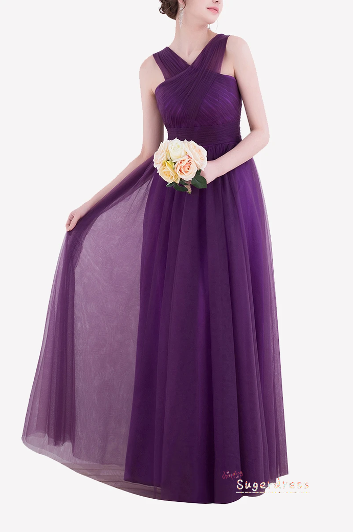 Simple Pleated Purple Bridesmaid Dress 8002367