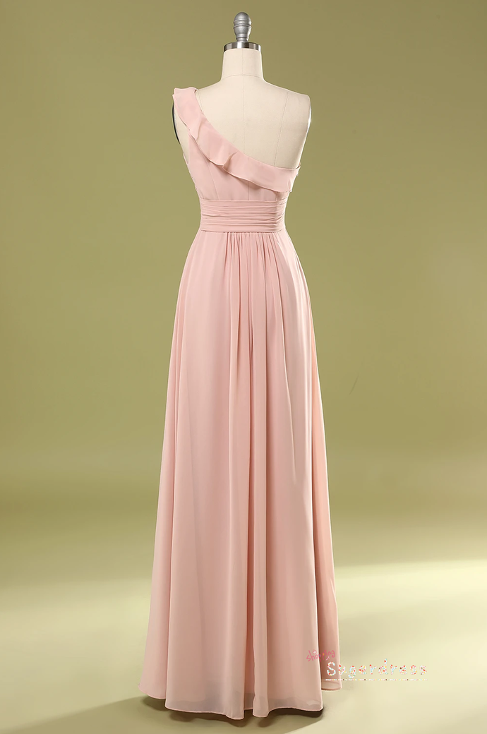 One Shoulder Pleated Blush Pink Bridesmaid Dress 8002368