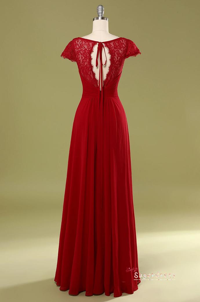 Keyhole Back V-Neck Red Prom Dress 8002369