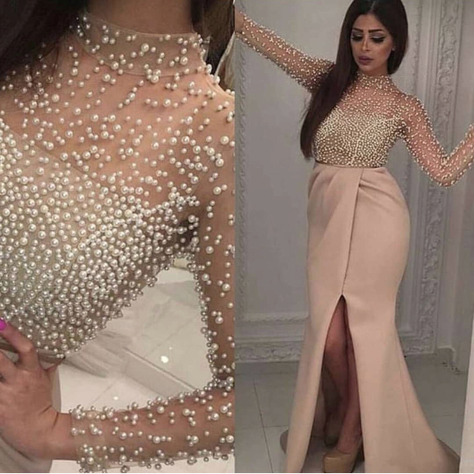 champagne evening dresses long 2020 high neck beaded mermaid elegant long sleeve