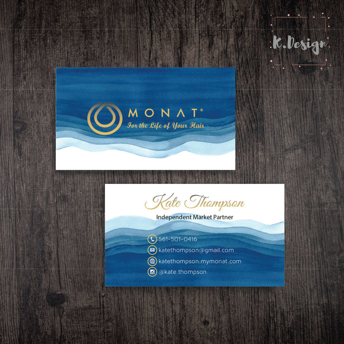 Blue Business Cards, Personalized Monat Hair Care Cards MN04