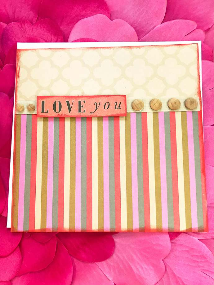 Love You Stripes and Wooden Dots Greeting, Note Card, Romance, Date, Wife,
