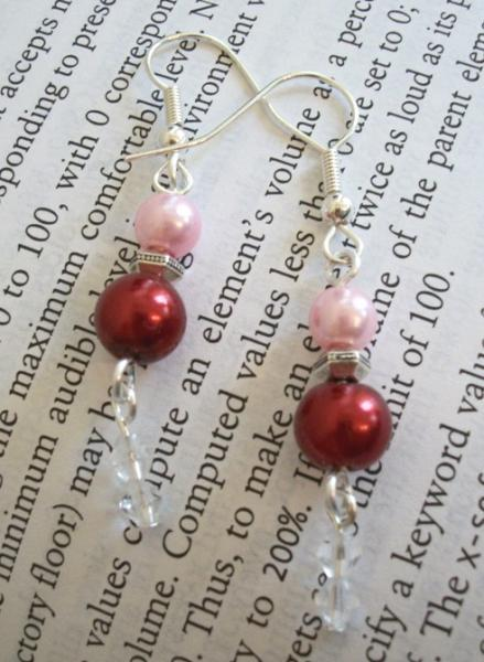 Czech Pearl Handmade Silver Dangle Earrings in Pink and Red