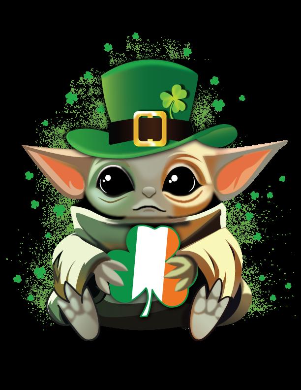 Baby Yoda Irish Flag, St Patrick's Day, Green Beer, Pinch Me, Kiss me i'm Irish,
