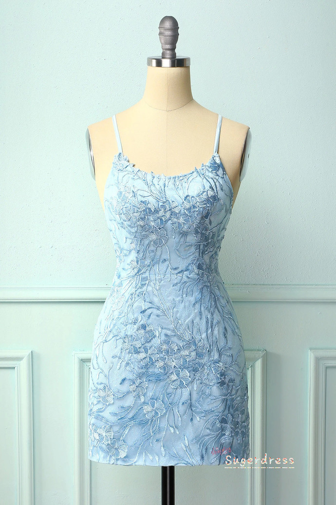 Lace Appliqued Bodycon Blue Homecoming Dress 8002379