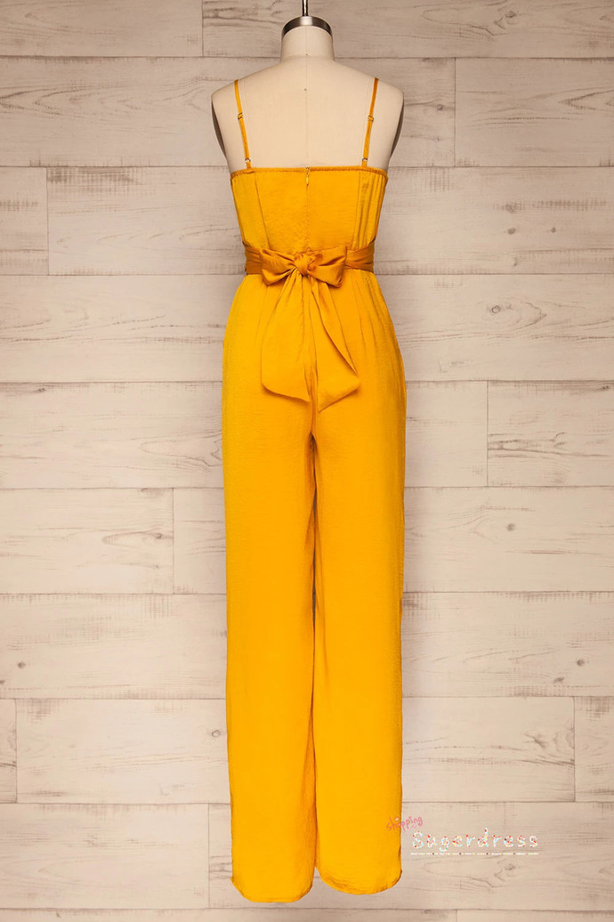 Pleated Yellow Evening Jumpsuit with Bowknot 80023786