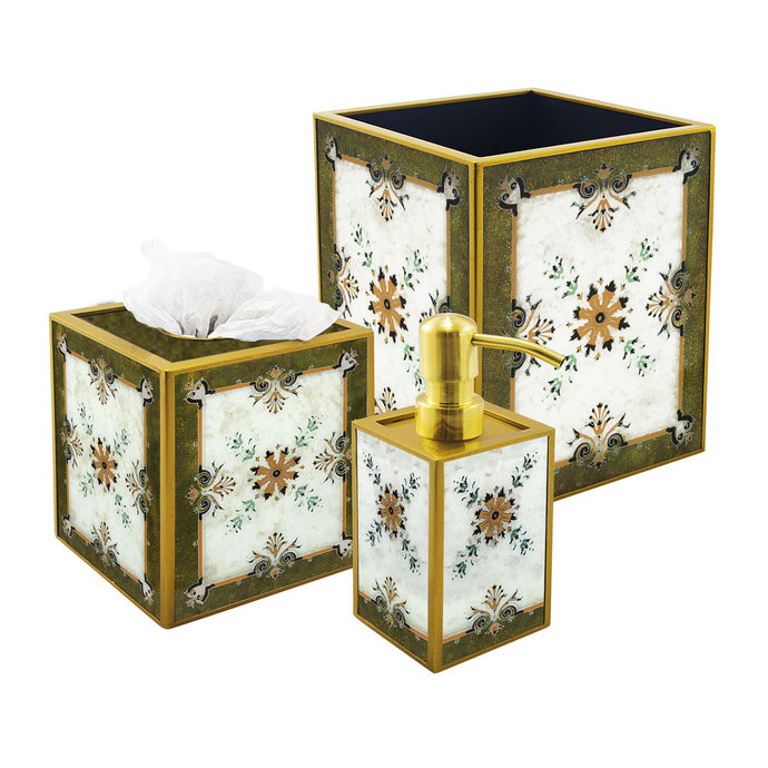 Deluxe 3 Piece White & Green Glass Bathroom Set - Turkish Style Green and White