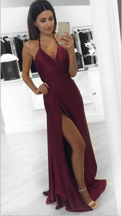 Sexy Prom Dress, A-Line Burgundy Prom Dress, Slit Evening Dresses