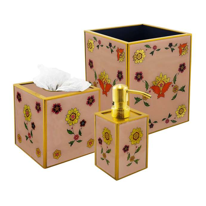 Decorative Bathroom Accessories Collection - Golden leaves with Old Rose