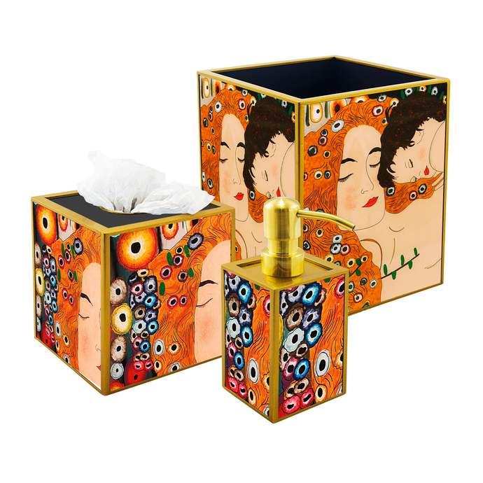 Bathroom Accessories Set - Symbolist Gustav Klimt's 3 ages Mother and Child Love