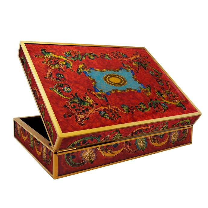Accessories for Tea Lovers - Baroque Style Red Birds - Rectangular box with