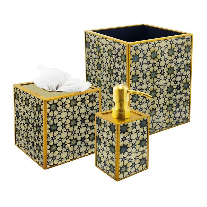 Decorative bath set - Geometric Oriental Style Stars - 3 pieces Bath Set with