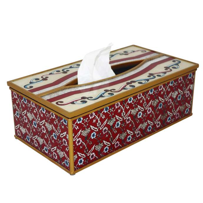 Kleenex Tissues - Red Classic Persian Flowers - Decorative Hand Painted Tissue