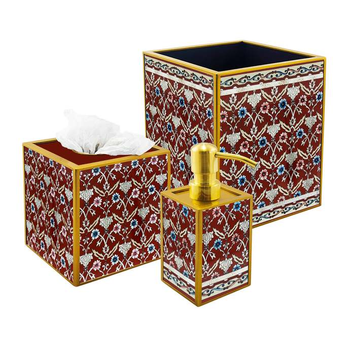 Accessories for the Bathroom - Red Classic Persian Flowers - 3 pieces Bath Set