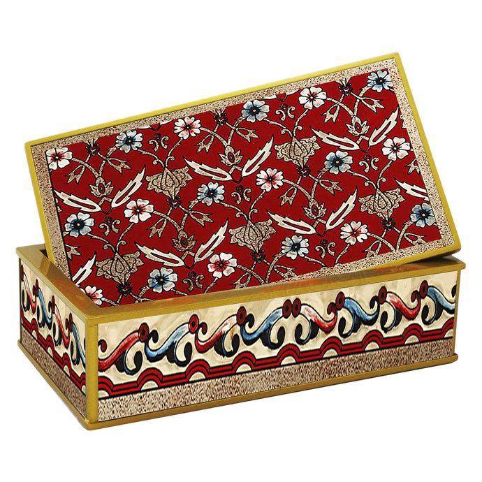 Bracelet Organizer Box - Red Classic Persian Flowers - Rectangular Sundries Box