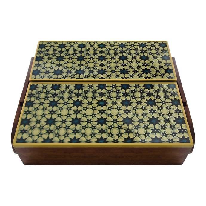 Decorative Silverware Box, Glass an Wood Flatware Chest - Oriental Style Stars -