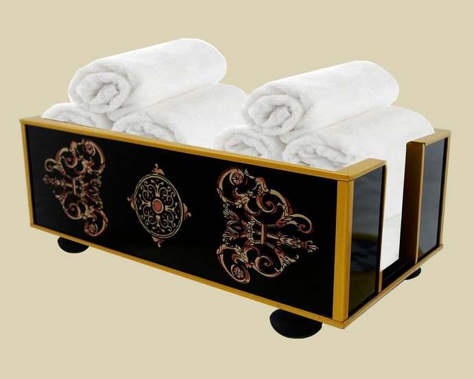 Bathroom box - Classic Empire Black and White Design - Luxury Hand Made Towel