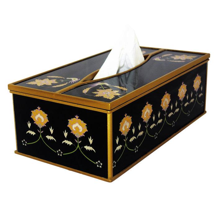 Boite Maison Monde - Feuilles de dorure sur fond noir - Boîte à Kleenex pour