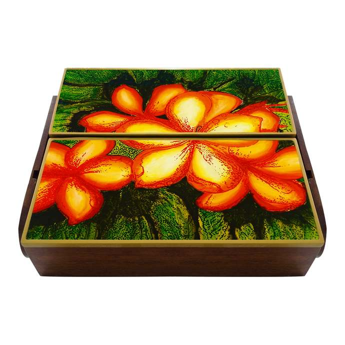 Box for Storing Silver Cutlery - Jungle Decor Large green Leaves  - Cutlery