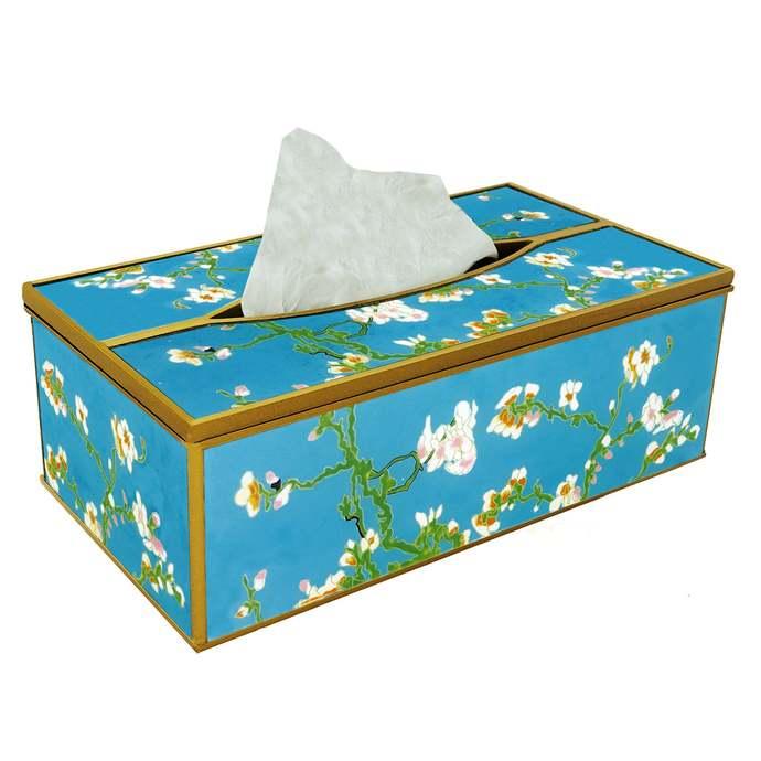 Bathroom tissue box - Van Gogh Almond Blossom - Decorative Hand Painted Tissue