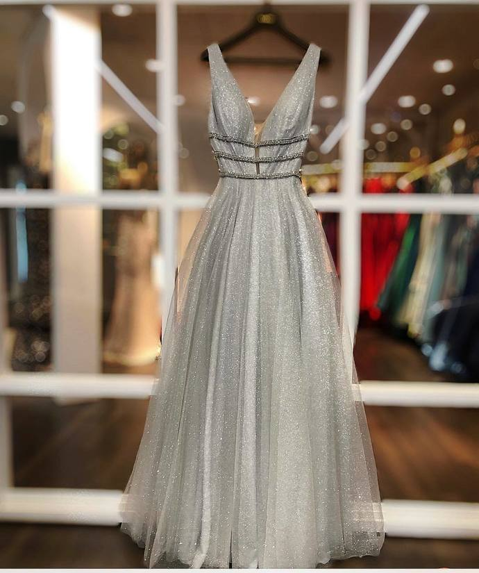 Gray Prom Dress,Tulle Prom Gown,V-Neck Evening Dress,A-Line Prom Gown 0154