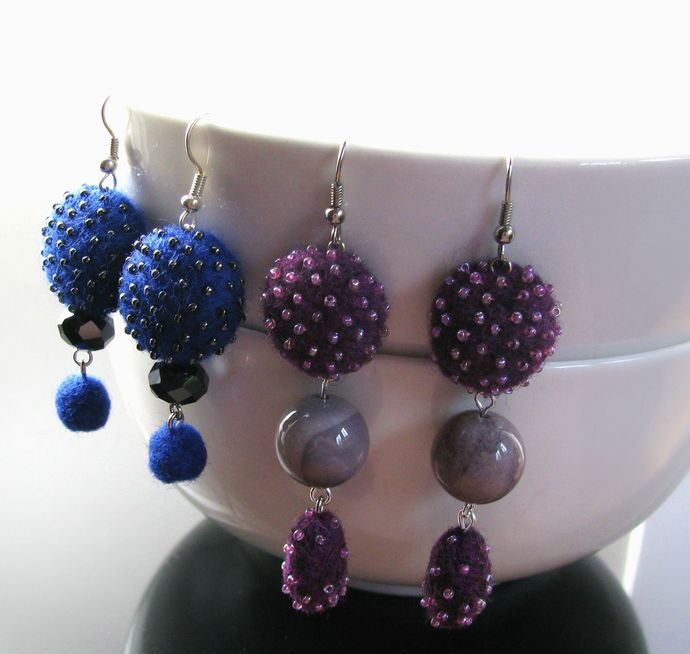 Royal blue felted and beaded dangle earrings with crystals