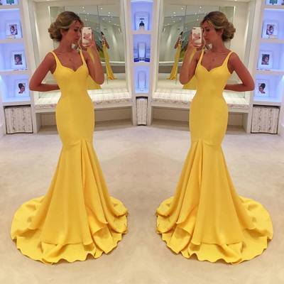 elegant evening dresses long yellow mermaid satin cheap simple evening gown