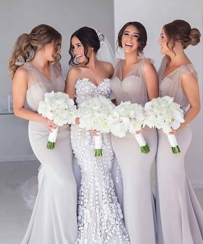 mermaid bridesmaid dresses long silver v neck elegant cheap custom wedding guest