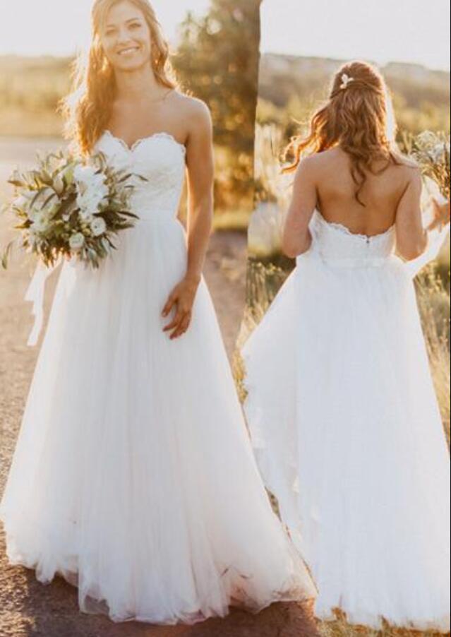 Elegant Lace Beach Wedding Dress Sweetheart Applique A line Simple Plus Size