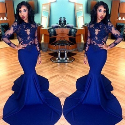 Sexy evening dresses long sleeve royal blue lace applique mermaid elegant