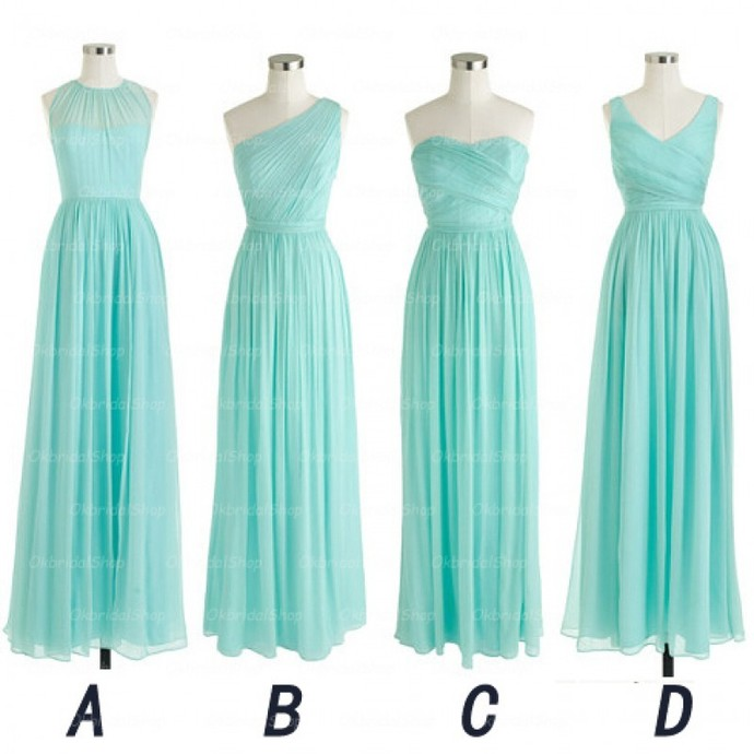 2020 long bridesmaid dresses turquoise blue chiffon cheap mismatched wedding