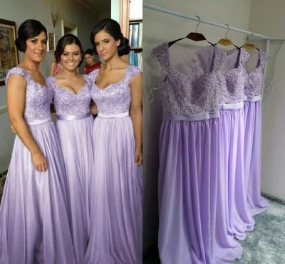 lilac bridesmaid dresses long lace applique chiffon beaded a line purple wedding