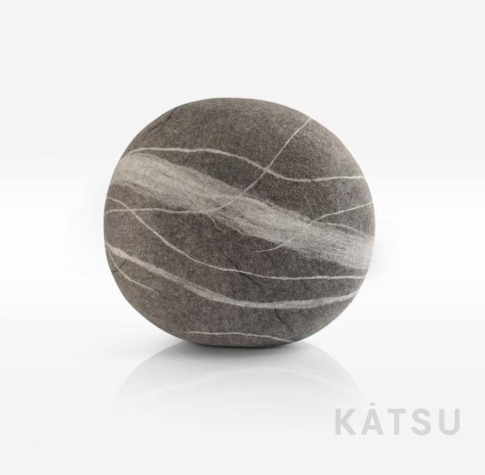 "Pouf ottoman. Model ""Wave"". Made of soft natural wool. Like real rocks. KATSU is"