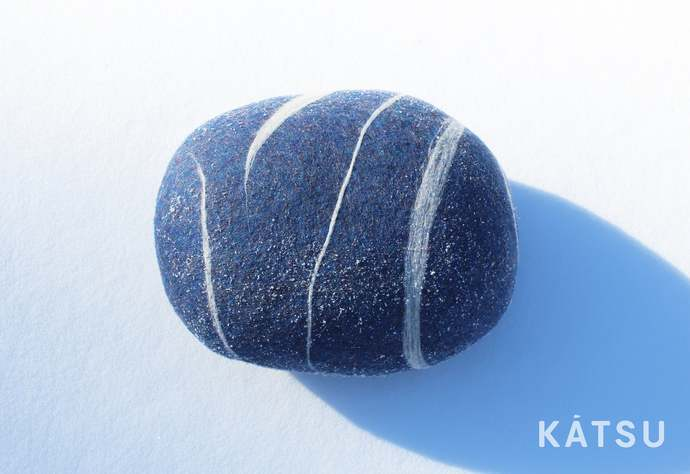 "Pouf ottoman. Model ""Blue melange"". Made of soft natural wool. Like real rocks."