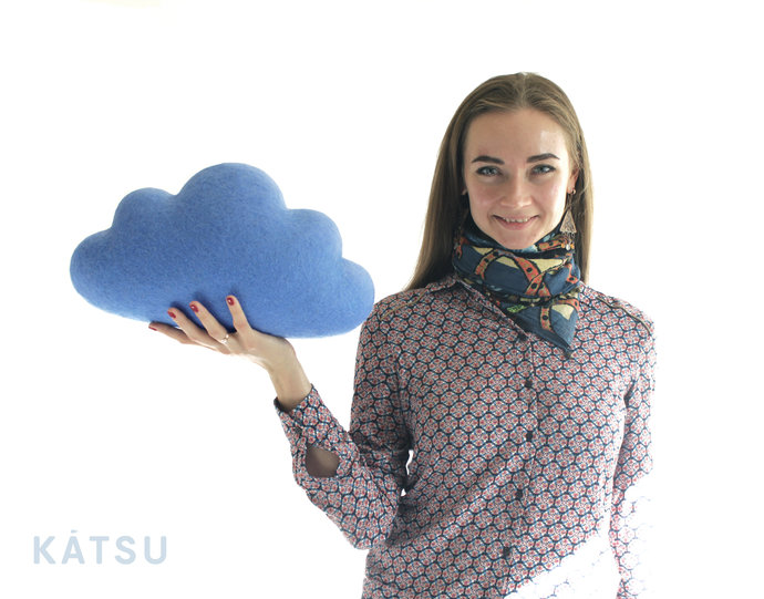Blue woollen cloud pillow for children's room. Felted wool cloud cushions. Wool