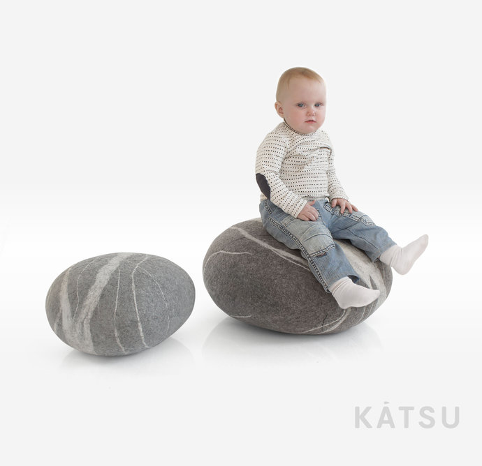 Pouf ottoman set. Set of two poufs. The best models. Made of soft natural wool.