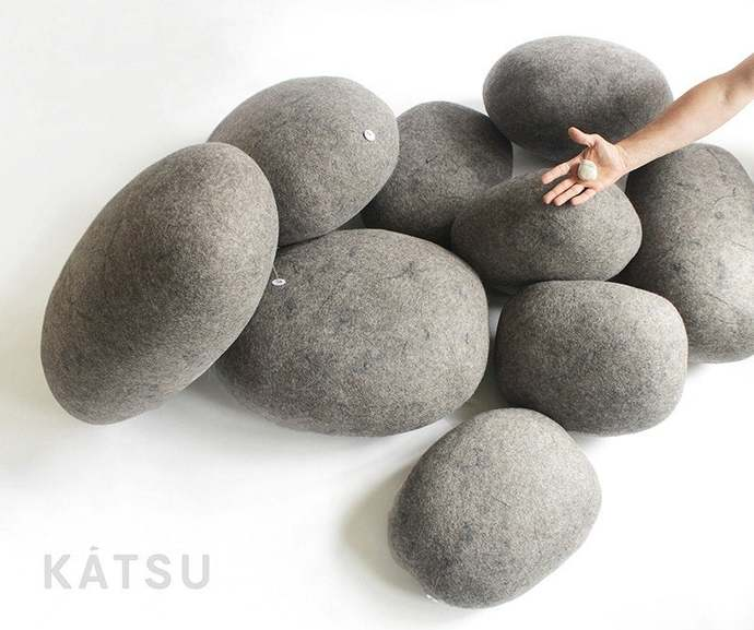 "Pouf ottoman. Model ""NORD"". Made of soft natural wool. Like real rocks. KATSU is"