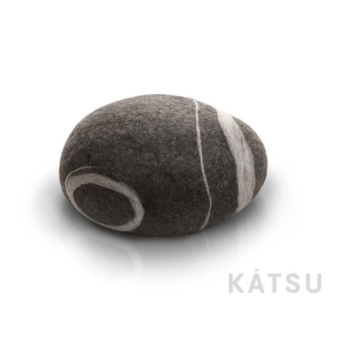 "Pouf ottoman. Model ""Sea Pebble"". Made of soft natural wool. Like real rocks."