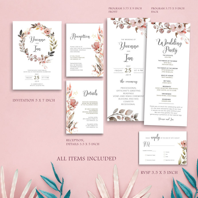 Rustic Wedding Template, Editable Template - Instant Download, Printable